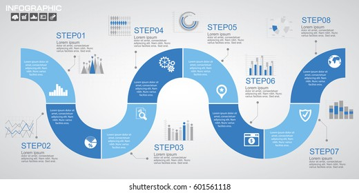 Blue Timeline infographics design template with options, process diagram, vector eps10 illustration