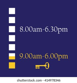 Blue timetable with shop working hours from monday to sunday vector illustration. Opening hours. Old key symbolize closed