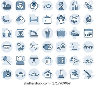 Blue tint and shade editable vector line icon set - alarm car vector, luggage scales, elevator, baggage truck, plane, angel, gear, sickle, ampoule, lab, pills, power hand, mobile tracking, camera