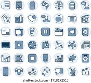 Blue tint and shade editable vector line icon set - tv vector, satellite antenna, clapboard, camera, microphone, radio, news, gamepad, equalizer, remote control, network, cell phone, touch screen