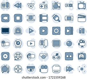 Blue tint and shade editable vector line icon set - ticket office vector, clapboard, film frame, reel, tv, gamepad, video camera, play button, stop, rewind, rec, hdmi, record, fast forward, backward