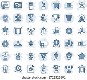Blue tint and shade editable vector line icon set - star letter vector, pedestal, pennant, medal, sertificate, shield check, pennon, certificate, award cup, flag, golden branch, winner, win, gold