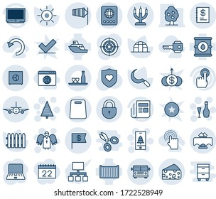 Blue tint and shade editable vector line icon set - airport bus vector, passport, lock, side wind, plane, christmas tree, angel, wine, mobile, notebook pc, fence, sun, sickle, greenhouse, oil barrel