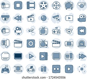 Blue tint and shade editable vector line icon set - ticket office vector, clapboard, film frame, reel, tv, gamepad, video camera, play button, stop, rewind, hdmi, record, fast forward, backward, web