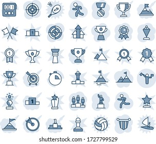 Blue tint and shade editable vector line icon set - dispatcher vector, pedestal, pennant, medal, run, stopwatch, target, motivation, award cup, attainment, winner, win, gold, pawn, arrows up