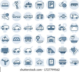 Blue tint and shade editable vector line icon set - dispatcher vector, taxi, airport bus, parking, ladder car, sign, safety, baggage truck, ambulance, route, railroad, trailer, delivery, encashment