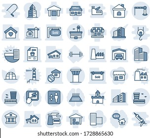 Blue tint and shade editable vector line icon set - airport tower vector, barrier, elevator, building, factory, house, greenhouse, barbell, store, warehouse, bank, office, with garage, sweet home