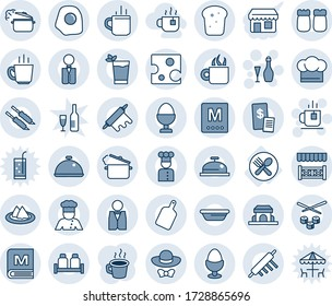 Blue tint and shade editable vector line icon set - hot cup vector, tea, wine, fork spoon plate, coffee, waiter, cook, dish, serviette, hat, menu, reception, phyto bar, egg stand, salt and pepper