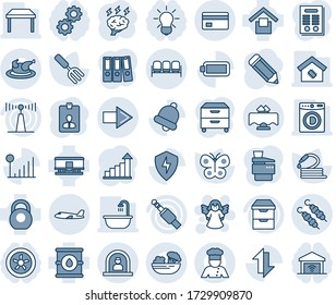 Blue tint and shade editable vector line icon set - waiting area vector, reception, right arrow, plane, angel, identity card, growth statistic, brainstorm, pencil, garden fork, butterfly, hose, bell