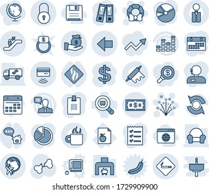 Blue tint and shade editable vector line icon set - escalator vector, smoking place, plane globe, left arrow, lock, firework, christmas wreath, dollar sign, office binder, broken bone, diet list