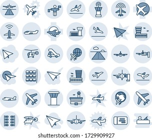 Blue tint and shade editable vector line icon set - plane vector, airport tower, runway, radar, departure, arrival, ticket, boarding, seat map, globe, building, traffic controller, trap truck, small