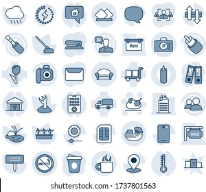 Blue tint and shade editable vector line icon set - no smoking vector, waiting area, camera, turkey, office binder, coffee, sproute, seedling, rain, hoe, plant label, pond, car delivery, cargo, rca