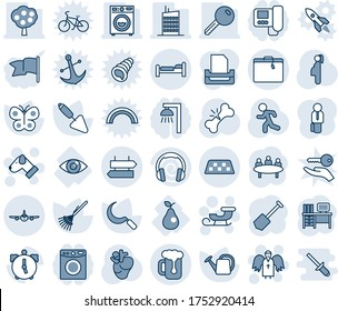 Blue tint and shade editable vector line icon set - taxi vector, suitcase, signpost, bed, plane, sleigh, angel, dog, desk, meeting, job, trowel, rake, watering can, butterfly, sickle, run, pregnancy