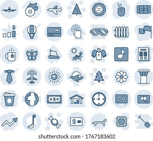 Blue tint and shade editable vector line icon set - airport tower vector, automatic door, credit card, plane, radar, tea, sun, christmas tree, candy, angel, mouse, coffee, stamp, fence, treadmill