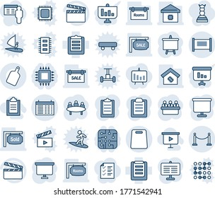 Blue tint and shade editable vector line icon set - fence vector, schedule, presentation board, meeting, clipboard, clapboard, sale, rooms, sold signboard, smart home, cutting, chip, chart, list