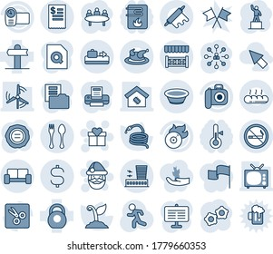 Blue tint and shade editable vector line icon set - baggage conveyor vector, spoon and fork, no smoking, airport building, vip waiting area, gift, santa claus, gear, hierarchy, pedestal, meeting, tv