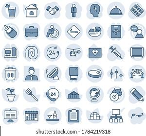 Blue tint and shade editable vector line icon set - satellite antenna vector, smoking place, disabled, globe, 24 hours, helicopter, manager, handshake, brainstorm, pencil, farm fork, seedling, house