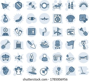 Blue tint and shade editable vector line icon set - bed vector, plane, airport bus, plate spoon fork, elevator, candle, sleigh, angel, office chair, desk, job, trowel, shovel, sickle, real heart