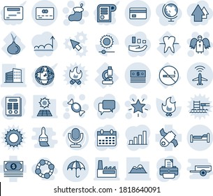 Blue tint and shade editable vector line icon set - plane radar vector, bed, insurance, credit card, christmas sock, star, candy, angel, calendar, printer, fire, lab, tooth, no smoking sign, onion