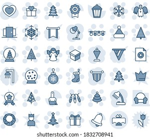 Blue tint and shade editable vector line icon set - christmas tree vector, gift, sock, ball, garland, snowflake, hat, wreath, angel, snowball, pennant, garden light, heart, themes, bell, sertificate