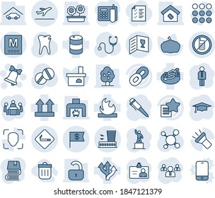 Blue tint and shade editable vector line icon set - departure vector, no mobile, smoking place, airport building, bell, manager, identity card, pedestal, team, graduate, pen, pumpkin, fireplace