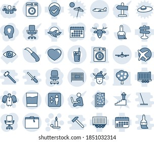 Blue tint and shade editable vector line icon set - suitcase vector, elevator, washer, plane, fenced area, candle, christmas deer, angel, hat, office chair, garden knife, eye, breads, signpost, term