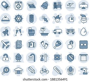 Blue tint and shade editable vector line icon set - plane vector, departure, shower, washer, flight table, suitcase, santa claus, wine glasses, christmas deer hat, desk, water drop, bench, bike, ham