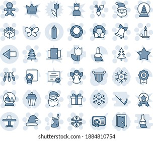 Blue tint and shade editable vector line icon set - left arrow vector, christmas tree, gift, santa claus, sock, garland, snowflake, candle, bell, cake man, hat, holly, wreath, angel, snowball house