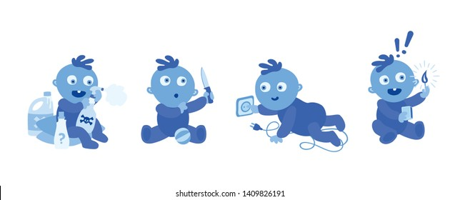 Blue toddlers on white background.  Dangers and safety hazards to watch for around the house. Babies with detergents, fire burns, sharp objects. Electrocuting victim. Accidents at home. Illustration.