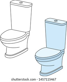 Blue toilet bowl. Linear and color drawing. Vector image