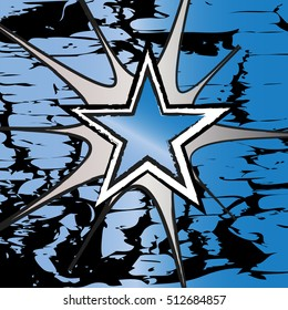Blue Topaz colored rock n roll grunge star vector background