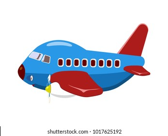 Blue Toy Airplane Side Pose with Character Expressions Vector