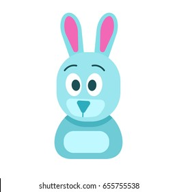 Blue toy small hare with funny surprised face, raised eyebrows and big ears isolated vector illustration on white background.