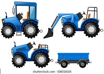 Blue tracktor and bulldozer illustration