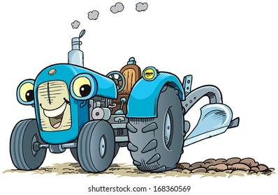Blue tractor with smile.