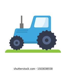 Blue tractor, vector illustration flat icon