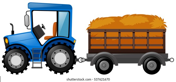 Blue tractor with wagon loaded with hay illustration