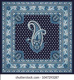 blue  traditional bandanna pattern