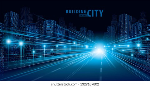 Blue traffic light trails on the road and modern building vector, Abstract Futuristic City, Cityscape background. Abstract motion speed in the night City, skyline Perspective, Architecture landscape