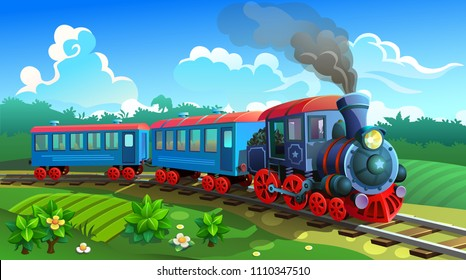 Blue train with railway carriages on nature background. Vector graphic.