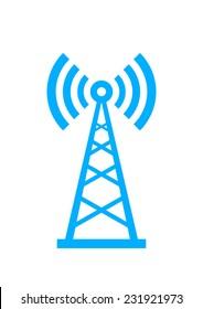 Blue transmitter icon on white background