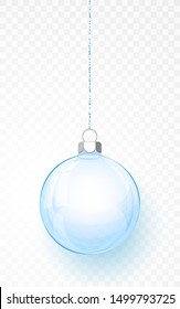 Blue transparent Christmas ball. Xmas glass ball on transparent background. Holiday decoration template. Vector illustration.