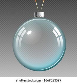 Blue transparent Christmas ball. Xmas glass ball on transparent background.