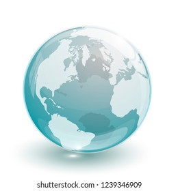blue transparent glass earth globe isolated