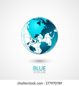 Blue transparent globe isolated in white background. Vector icon.