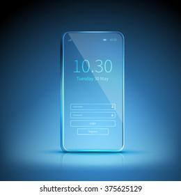 Blue transparent smartphone image swiched on and waiting for registration on blue background vector illustration