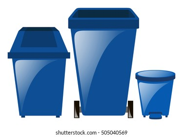 Blue trashcans in three different sizes illustration