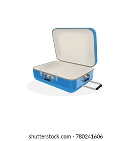 blue travel plastic suitcase with wheels realistic on white background vector illustration