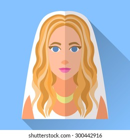 Blue trendy flat square wedding day fiancee icon with shadow. Illustration of an attractive bride with long curly highlighted blonde hair wearing sleeveless white dress, veil and golden necklace.