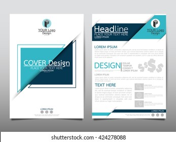 Blue triangle annual report brochure flyer design template vector, Leaflet cover presentation abstract geometric background, layout in A4 size